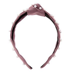 Pearl Knotted Headband - Eggplant,