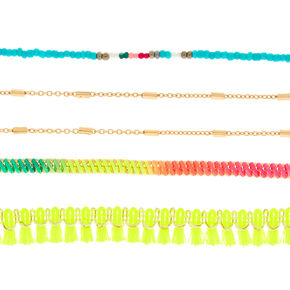 5 Pack Neon Tropical Choker Necklaces,