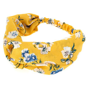 Floral Turban Knot Headwrap - Yellow,