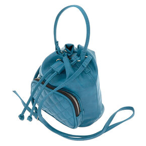 Faux Leather Mini Bucket Crossbody Bag - Teal,