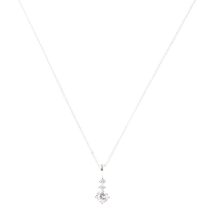 3-Stone Round Cubic Zirconia Silver Pendant Necklace,