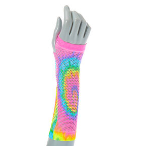 Tie Dye Fishnet Arm Warmers,