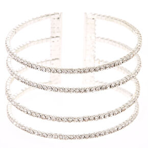 Multiple Crystal Row Bar Cuff Bracelet,