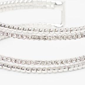 Silver Beaded Rhinestone Open Cuff Bracelet,