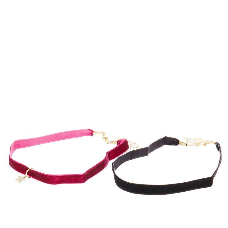 Black & Wine Velvet Choker Necklaces with Pavé Crystal Star Pendant,