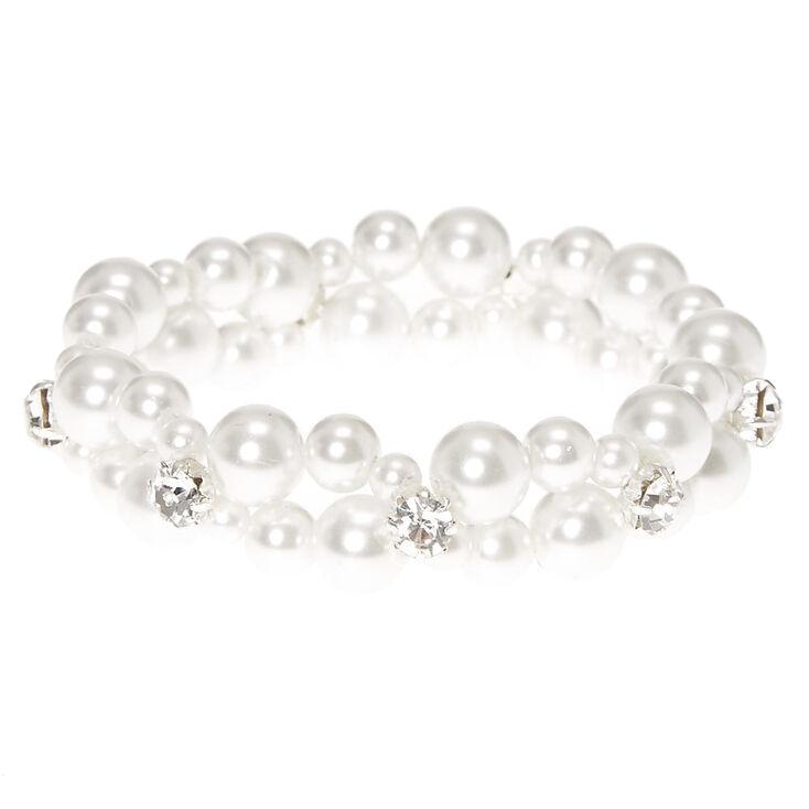 Double Row Faux White Pearl Bracelet,