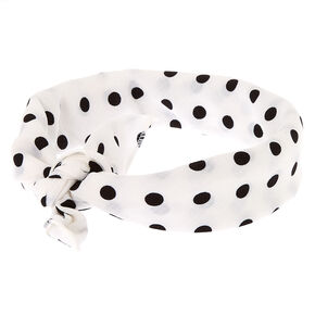 Polka Dot Knotted Bandana Headwrap - White,