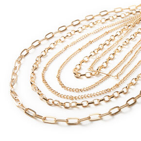 Gold Open Chain Link Multi Strand Necklace,