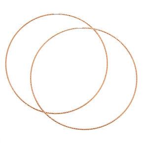 Rose Gold 100MM Sandblasted Hoop Earrings,