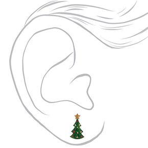 Silver Glitter Christmas Tree Stud Earrings - Green,