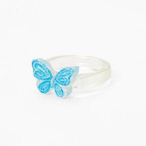 Clear Glitter Butterfly Ring - Blue,