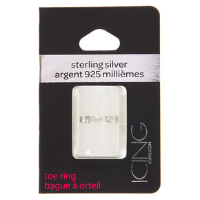 Sterling Silver Criss Cross Crystal Toe Ring,