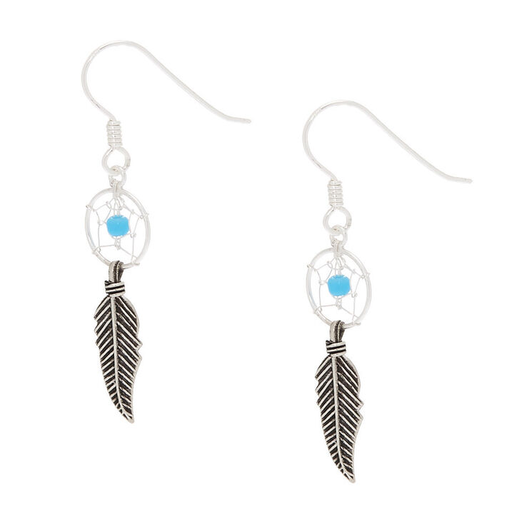 "Sterling Silver 1"" Beaded Dreamcatcher Drop Earrings - Turquoise,"