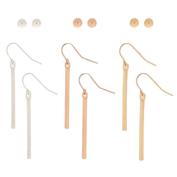 Mixed Metal Stud & Drop Earrings - 6 Pack,