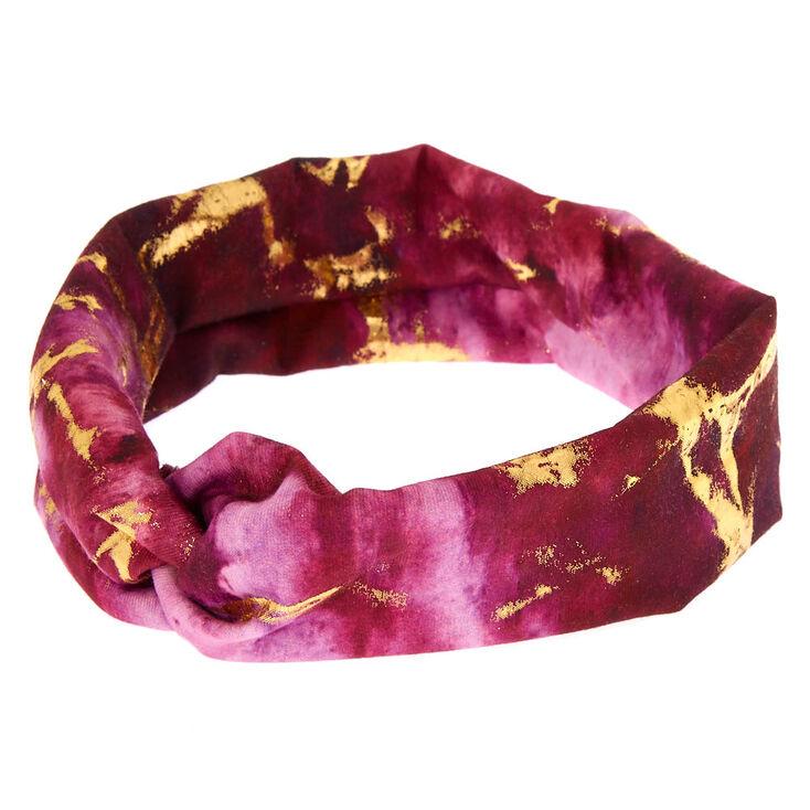 Metallic Marble Wide Jersey  Headwrap - Purple,