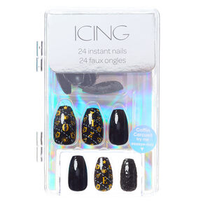 Love Status Icon Faux Nail Set - Black, 24 Pack,