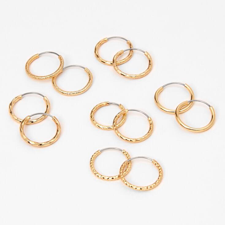 Gold 10MM Textured Hoop Earrings - 6 Pack,