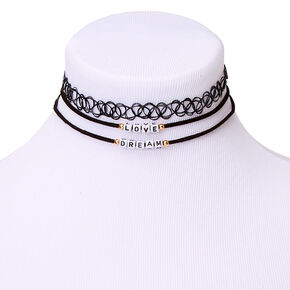 Dream & Love Choker Necklaces - Black, 3 Pack,