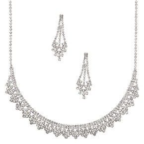 Silver Rhinestone Peacock Jewelry Set - 2 Pack,