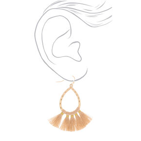 "Gold 2"" Tassel Teardrop Drop Earrings - Beige,"