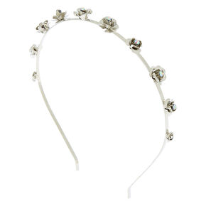 Silver Metal Roses Headband,