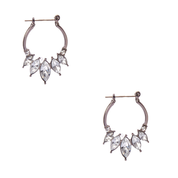 Silver Tone  Faux Crystal Edge  Hoop Earrings,