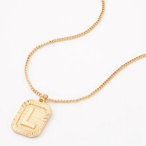 Gold Initial Rectangle Medallion Pendant Necklace - L,