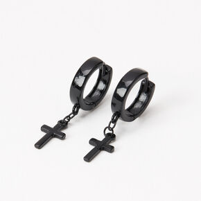 Black 15MM Cross Huggie Hoop Earrings,