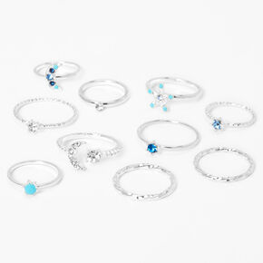 Silver Mixed Celestial Stone Rings - Blue, 10 Pack,