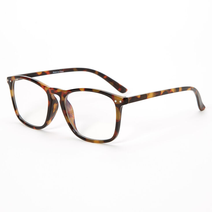 Blue Light Reducing Retro Tortoiseshell Clear Lens Frames - Brown,