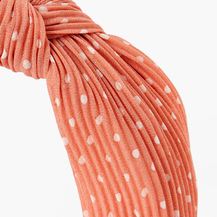 Polka Dot Pleated Knotted Headband - Peach,
