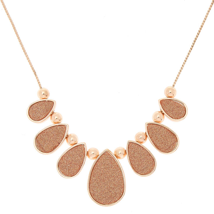 Rose Gold Tear Drop Glitter Statement Necklace,