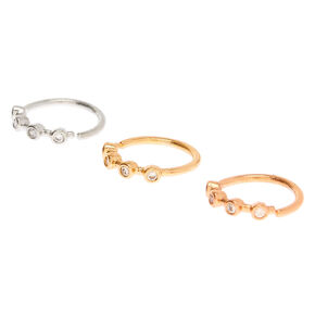 Mixed Metal 20G Crystal Cartilage Hoop Earrings - 3 Pack,
