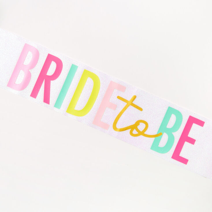 Bride To Be Glitter Sash - White,
