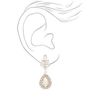 """Silver 2"""" Glass Rhinestone Teardrop Drop Earrings,"""