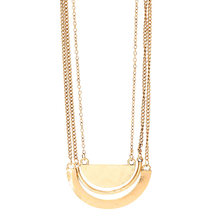 Gold Half Moon Layered Chain Necklace,