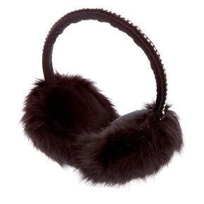 Furry Embellished Band Ear Muffs - Black,