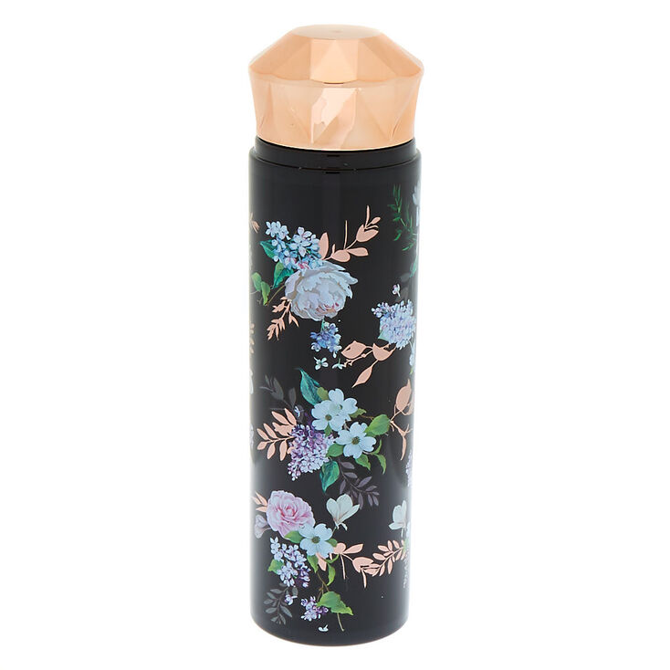 Rose Gold Floral Water Bottle - Black,
