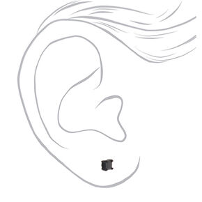 Black Cubic Zirconia Square Magnetic Stud Earrings - 5MM,