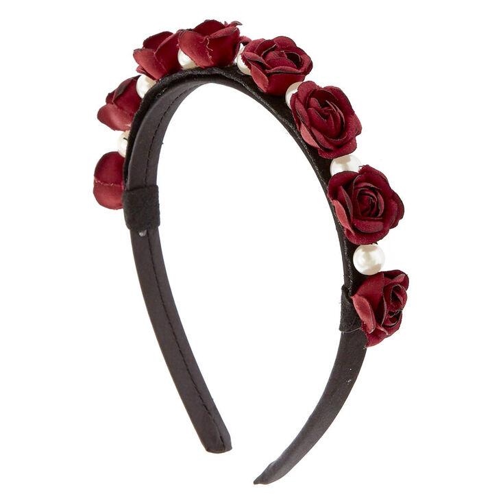 Burgundy Rose Pearl Headband,