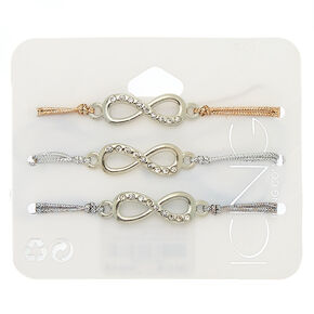 Metallic Infinity Symbol Stretch Bracelets - 3 Pack,