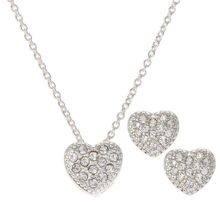 Silver Crystal Heart Necklace & Earrings Set,