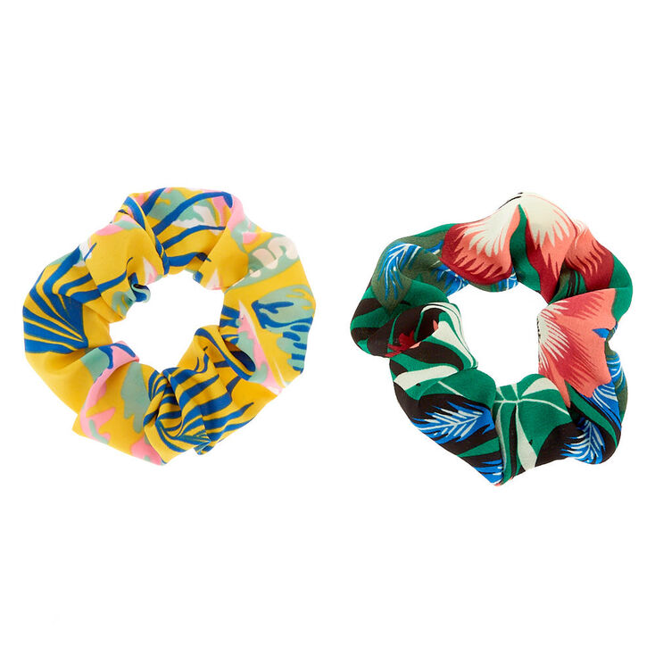 Small Tropical Floral Hair Scrunchies - Yellow, 2 Pack,