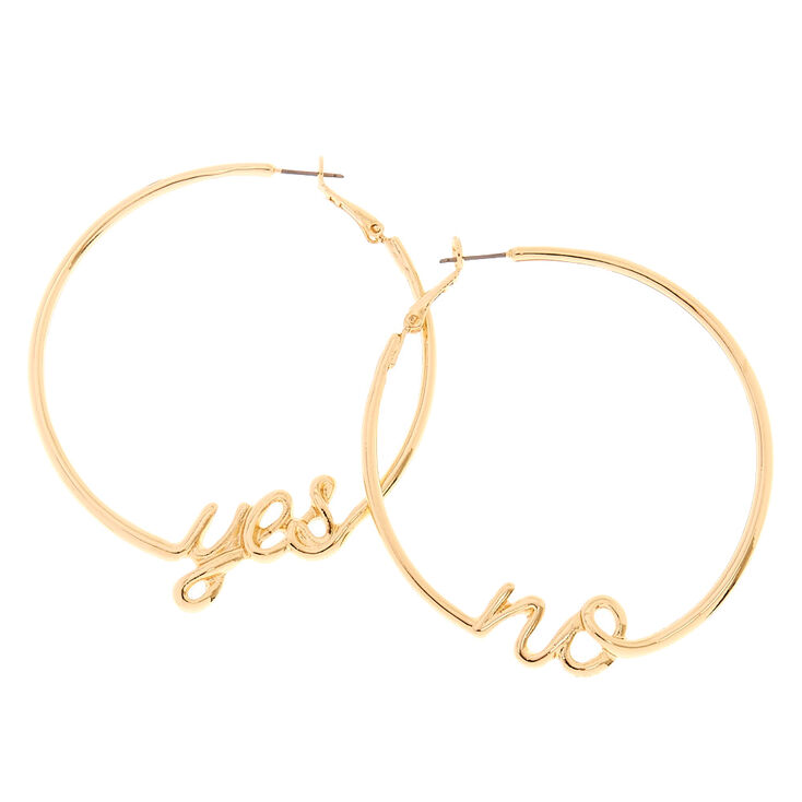 Gold Tone Yes & No Hoop Earring,