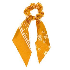 Paisley Satin Scarf Hair Scrunchie - Mustard,
