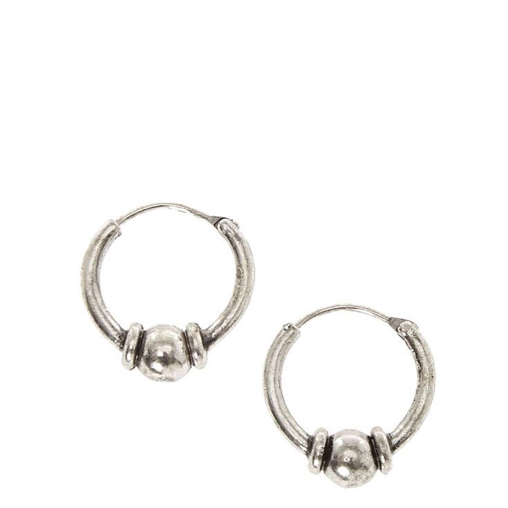 Silver Tone Bead Mini Hoop Earrings,