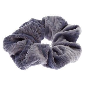 Medium Ribbed Velvet Hair Scrunchie - Blue,