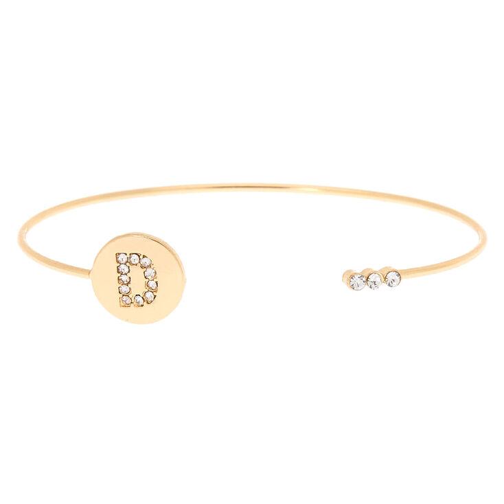 Gold Initial Cuff Bracelet - D,