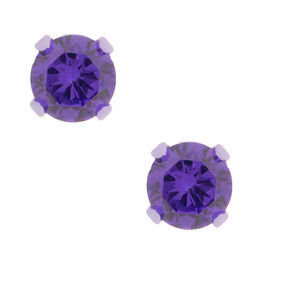 Purple Cubic Zirconia Stud Earrings,