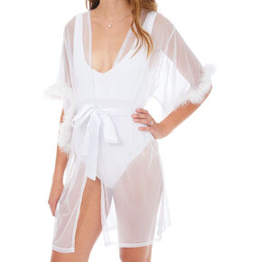 Sheer Fur Lined Robe - White,